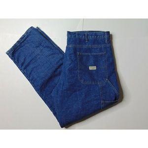 Wrangler 38x32 Fleece Lined Carpenter Blue Jeans